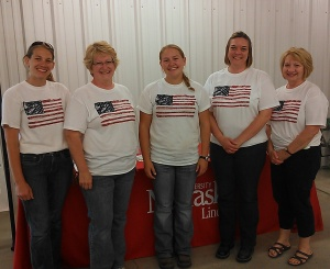 Clay County Extension Office shows our Patriotic spirit!  Jenny, Deanna, Rachel, Holli, Cindy