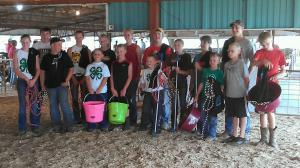 Blurry pic but youth competing in Beef Team Fitting Contest.  So cool how youth from different clubs throughout the County are brought together to work together on teams!