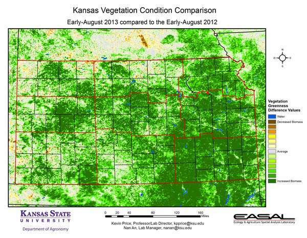 This was a map published by Kansas State University showing vegetation difference from 2012-2013.  Look above to the dark area in Nebraska-Yep-that's Clay County and the loss of vegetation due to August 1, 2013 storm.