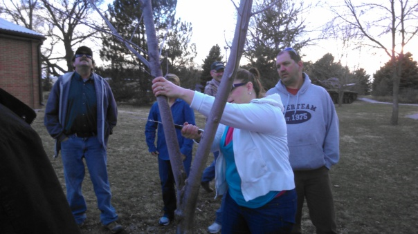 "Workshop attendee demonstrating ""heading"" of a branch."