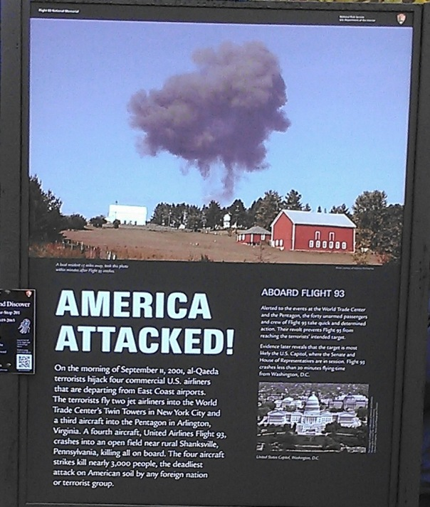 In September 2013, I had the opportunity to visit the US Flight 93 Memorial in Pennsylvania.  The Memorial is mostly a grassy field but also has a series of signs to explain the events on 9/11/2001.